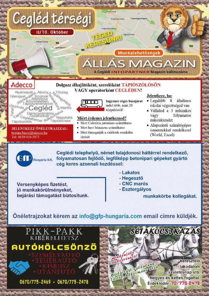 Cegléd Térségi Állás Magazin 2019. október